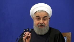 Hassan Rohani, lors d'une conférence de presse, à Téhéran, le 6 février 2018.