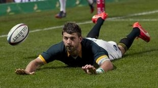 Willie Le Roux scored a try for South Africa in their 37-25 loss to Argentina in Durban.