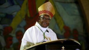 L'archevêque de Kinshasa, Fridolin Ambongo Besungu, le 24 décembre 2018 pour la messe de la Nativité.