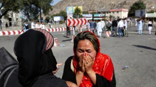 Место теракта во время манифестации шиитского меньшинства в Кабуле, 23 июля 2016 г.