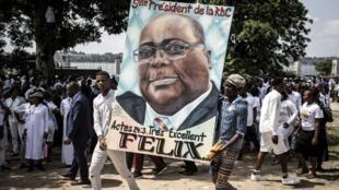Des supporters du nouveau président Félix Tshisekedi à Kinshasa, le 24 janvier 2019.