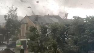 A tornado is seen in Petange, Luxembourg, 9 August, 2019.