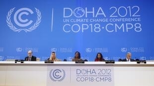 South Africa's Foreign Minister and President of the (COP 17) Maite Nkoana-Mashabane speaks at the opening session of the United Nations Climate Change (COP18) in Doha