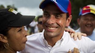 Henrique Capriles en Cupira, al este de Caracas, el 21 de septiembre de 2012.