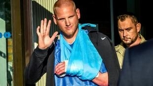 Spencer Stone (L) who was one of the men who overpowered the Thalys attacker