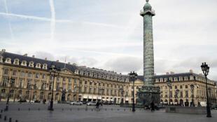 Vista da Place Vendôme, um dos locais mais prestigiosos de Paris.