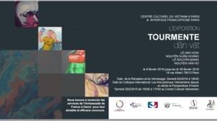 """Affiche triển lãm """"Tourmente"""" của bốn họa sĩ Việt Nam."""