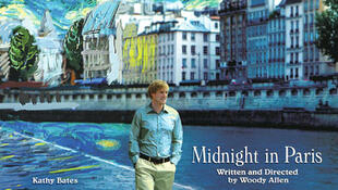 """Afiche de la película de Woody Allen """"Midnight in Paris""""."""