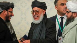 Đại diện văn phòng phe Taliban Mohammad Abbas Stanakzai, tại một cuộc họp báo ở Matxcơva, Nga, ngày 05/02/2019