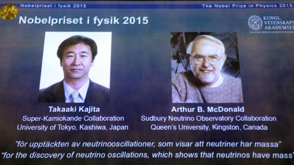 Os vencedores do prêmio Nobel de Física 2015 foram o japonês Takaaki Kajita e o canadense Arthur McDonald.