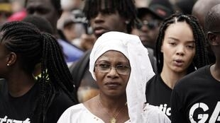 Oumou Traoré, the mother of the late Adama Traoré, at an earlier march against police violence.