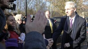 Julian Assange at Belmarsh Magistrates' Court in London, 11 February 2011