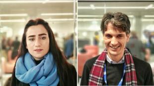 La photographe irakienne Barfi Ali Bashar et le journaliste d'investigation algérien Lyas Hallas, le jeudi 12 décembre 2019, à Paris.