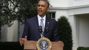 """Президент США Барак Обама говорит о крушении """"Боинга"""" под Донецком, Белый дом, Вашингтон, США, 21 июля 2014 г."""