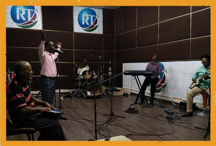 """Groupe RTD in """"after hours"""" jamming session at Djibouti's national radio station"""