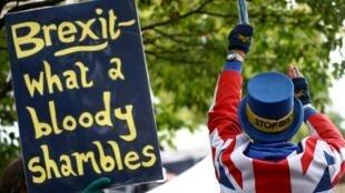 """""""Brexit - que imensa bagunça"""", diz cartaz exibido por manifestante em protesto contra a saída do Reino Unido da União Europeia em 21 de outubro de 2019."""