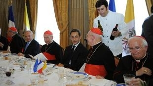 French President Nicolas Sarkozy sitting with members of the Constitutional Council, Rome, 8 October