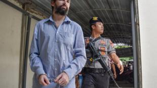 Felix Dorfin arrives at a court on Lombok island, 20 May 2019