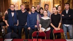 Lors de l'enregistrement de « L'Oiseau en cage », une pièce contemporaine écrite d'après Molière par Emmelyne Octavie, interprétée par les comédiennes et comédiens de la Comédie-Française.