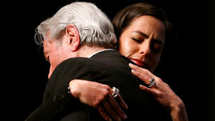 Alain Delon, congratulated by his daughter Anouchka Delon after his honorary Palme d'or.