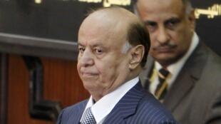 Le président yémenite Abd Rab Mansour Hadi, lors de sa cérémonie d'investiture au Parlement, le 25 février 2012.
