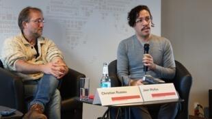 O ex-deputado brasileiro Jean Wyllys (PSOL) durante conferência de imprensa nesta segunda-feira (18) na capital alemã.