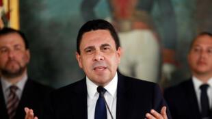 Ngoại trưởng Venezuela Samuel Moncada mạnh mẽ chỉ trích Mỹ đòi trừng phạt Caracas. Ảnh ngày 18/07/2017.