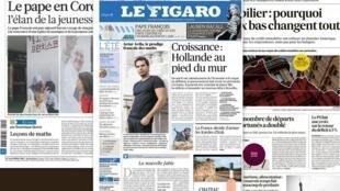 Capa dos jornais franceses Le Figaro, La Croix e Les Echos desta quinta-feira, 14 de agosto de 2014.