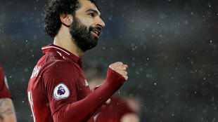 Mo Salah scored Liverpool's first goal during their victory at Wolverhamton Wanderers.