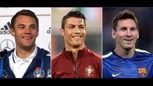 Os três pretendentes à Bola de Ouro 2014, de esquerda para a direita, o alemão Manuel Neuer, o português Cristiano Ronaldo e o argentino Lionel Messi.