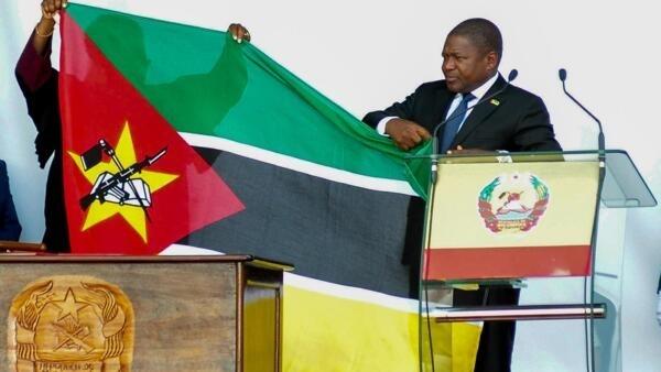 Presidente Filipe Nyusi durante a cerimónia da sua tomade de posse para um segundo mandato, neste 15 de Janeiro em Maputo.