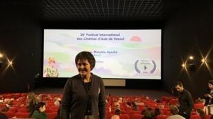 صحرا کریمی سینماگر و رئیس «افغان فیلم»، قدیمی ترین شرکت دولتی تولید فیلم افغانستان، در جشنوارۀ بین المللی سینماهای آسیا - وزول – ١٣ فوریه ٢٠٢٠