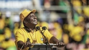 South African president Cyril Ramaphosa, at an ANC rally, Ellis Park, Johannesburg, 5 May 2019.