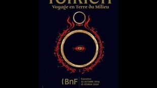"""Poster for """"Tolkien, voyage en Terre du Milieu"""" at the Bibliotheque Nationale"""