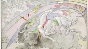 «Corrida: la mort de la femme toréro, Boisgeloup» 6 septembre 1933. Huile sur bois. 21,7 × 27 cm, une œuvre de l'exposition «Picasso Poète».
