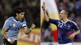 L'Uruguayen Sebastien Abreu et le Français Franck Ribéry