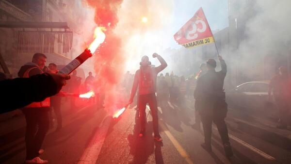 Protestors in the southern French city of Marseille during Thursday's protest against pension reform.