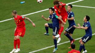 Trận Bỉ - Nhật Bản  tại sân vận động Rostov ngày 02/07/2018. Cầu thủ Bỉ Marouane Fellaini gỡ lại trái thứ hai.