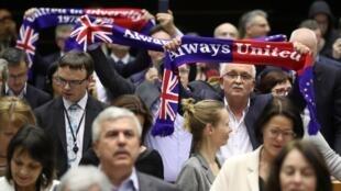 Réactions au Parlement européen après le vote de retrait de l'UE, le 29 janvier 2020.