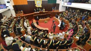 L'Assemblée nationale ivoirienne, le 18 décembre 2015, lors d'un discours de son président Guillaume Soro.