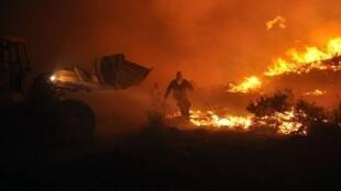 En 2012, les feux près du village de Kalmoti, sur l'ïle de Chios en Grèce ont détruit près de 7000 hectares de forêt.