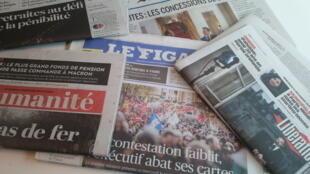 Primeiras páginas dos jornais franceses de 11 de dezembro de 2019