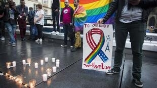 A vigil in Paris for the victims of the Orlando massacre, 12 June 2016