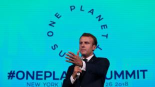 Emmanuel Macron lokacin taron One Planet Summit a birnin New York, 2018-09-26