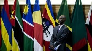 Un délégué se tient devant les drapeaux des pays membres de la SADC le 20 août 2017 à Pretoria. (Image d'illustration)