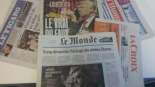 Primeiras páginas dos jornais franceses de 25 de janeiro de 2017