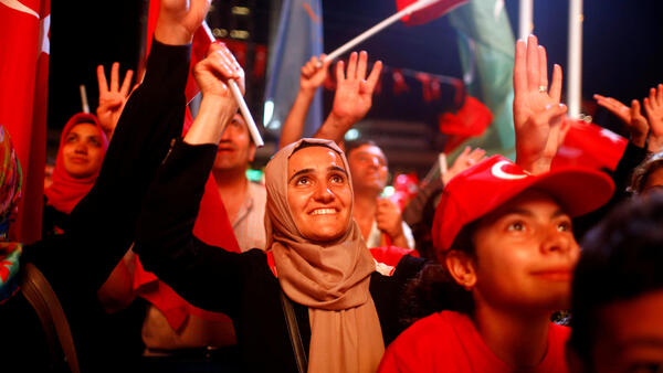 Manifestation de soutien au président turc Erdogan, sur la place Taksim à Istanbul, en août 2016.