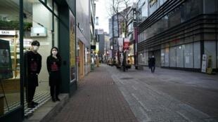 Epidémie de coronavirus en Corée du Sud: dans le centre-ville de Daegu, les rues sont quasi désertes, le 21 févier 2020.