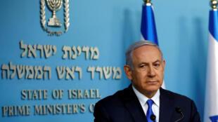Le Premier ministre israélien Benjamin Netanyahu fait un point sur le rapatriement du soldat Zachary Baumel, lors d'une conférence de presse, le 3 avril 2019.