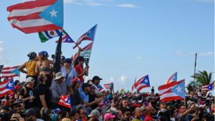 Des manifestants réclament la démission du gouverneur de Porto-Rico Ricardo Rossello, le 17 juillet 2019.